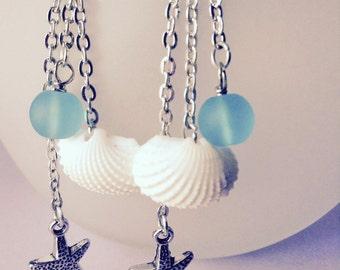 Seashell & Sea Glass Dangle Earrings