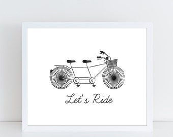 Bicycle printable wall art / Tandem bicycle art / Home decor printable / Bicycle wall art / Home wall art / Bicycle art print