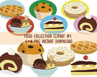 Desserts and baked goods clipart, food collection clipart, PNG on transparent background for scrapbooking, cards, and more, instant download