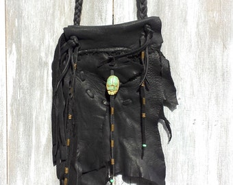 Leather Black Deer Skin Handcrafted Tribal Spirit Bag Scarab Mountain Mini Neck Pouch