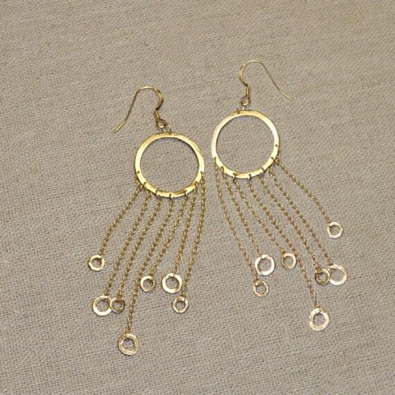 Long Drop Earrings - 14k Gold Filled Dangle Earings - Bohemian Dangling Jewelry - Stud Earrings - Thread Earrings