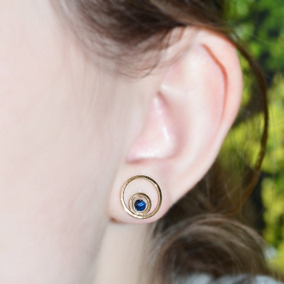 14k Gold Filled Stud Earrings - Bar 3mm Sapphire Stud Earring - Gold Earring Studs - 20 Gauge Cartilage Piercing - Helix Piercing