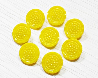 Set of 8 Bright Yellow Glass Buttons ~ 18mm ~ Rare Antique CZECH GLASS BUTTONS ~ Set of 8 Vintage Buttons
