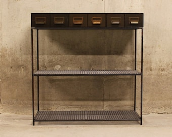 Entry Table Vintage Card Catalogs with ReBar Legs and Mesh Shelves