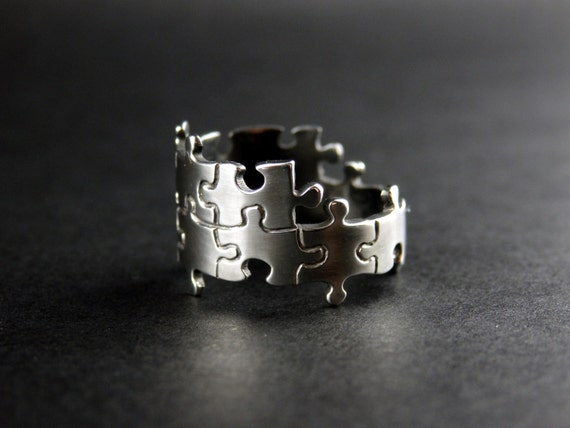 puzzle ring handcrafted sterling silver ring