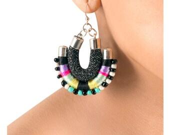 Dangle earrings Tribal inspired Ethnic earrings  Edgy earrings Fabric earrings Black earrings Statement earrings
