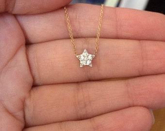 Solid gold diamond star necklace genuine diamond necklace dainty necklace