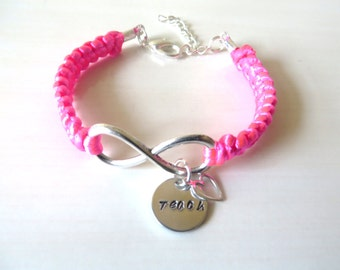 Teach Charm Infinity Bracelet Optional Floating Heart Charm You Choose Your Cord Color(s)