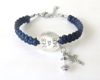 Me Vs Me Workout Faith Religious Cross Weight Lifting Bodybuilding Barbell Charm Bracelet You Choose Your Cord Color(s)