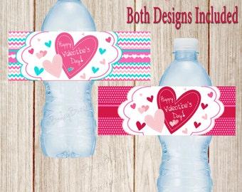 Valentine Water Bottle Labels, Valentines, Valentines Water Bottle Labels - Party Favors -  INSTANT DOWNLOAD