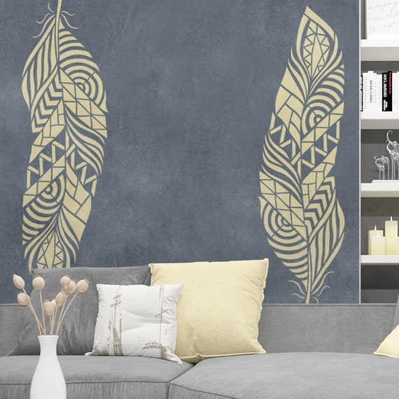 feather wall stencil reusable feather decorative stencil. Black Bedroom Furniture Sets. Home Design Ideas