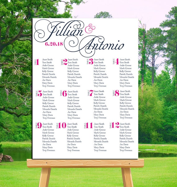 Printable Seating Chart For Wedding Reception: Wedding Seating Chart Printable Wedding Sign By
