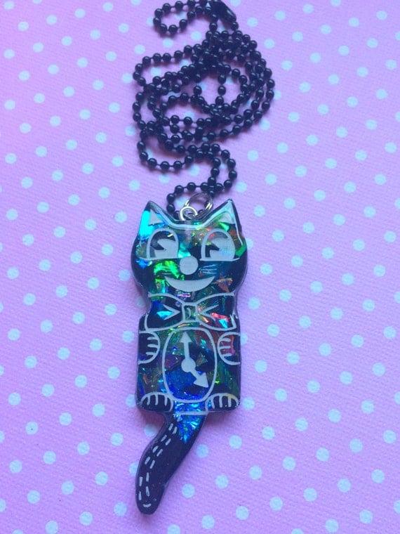 cat clock resin pendant kitsch jewelry retro necklace
