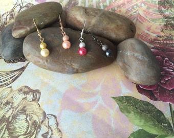 Stardust and Pearl Dangle Earrings