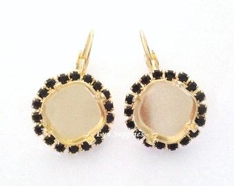 Jet Rhinestone Gold Earrings Settings Base 1 Pair Fits 12mm Swarovski Crystal 4470
