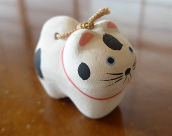 "VINTAGE White , Blue , Black & Pink Colors , Cat Earthenware Bel , Pottery Bell "" Dorei ""Japanese Bell , Cute Face , Lucky Charm"