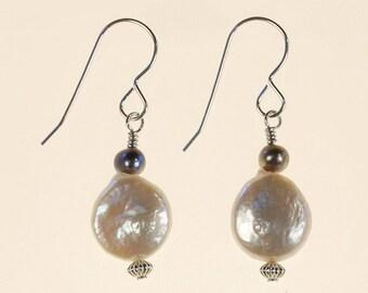 White Freshwater Pearl Drop Earrings Spring Summer Wedding Jewelry Gift for Her Minimalist Artisan Geometric Sterling Silver Dangle Earrings