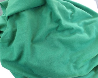 "Green Velour Fabric, 60"" by 55"" Plus Extra, Polyester Sweatshirt Fabric, Craft Fabric, Soft Knit Velour, Destash"