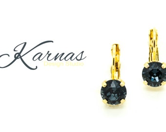 GRAPHITE 8mm Drop or Stud Earrings Swarovski Crystal *Pick Your Finish *Karnas Design Studio *Free Shipping