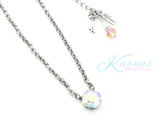 PINK POWDER PUFF 12mm Crystal Cushion Cut Single Stone Necklace *Pick Your Metal *Karnas Design Studio *Free Shipping*