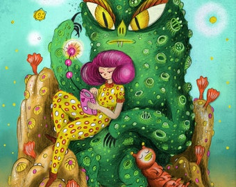 Space Girl and Alien Print, giclee print, sci fi print, poster, wall art