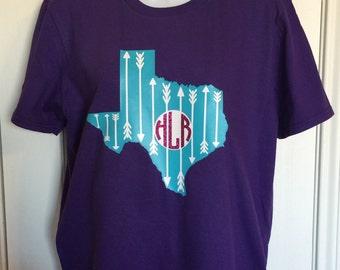 Texas Shirt, Texas Monogram Shirt, Texas Pride, Monogram Tee, Texas T-Shirt, Texan Shirt, CUSTOM Monogram Shirt