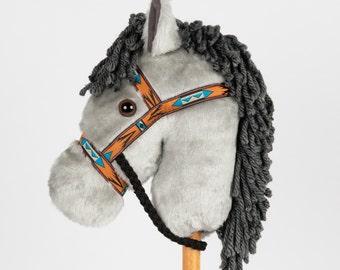 Gray Stick Horse -Stick Pony- Hobby Horse