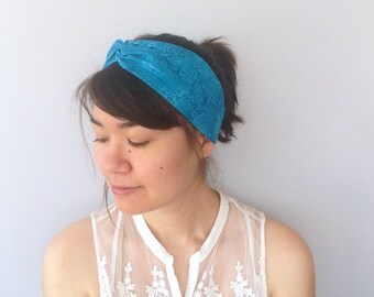 Blue Turban Headband, Boho Twist Headband