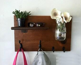 Rustic Wood Wall Coat Rack With Mason Jar By Treetopwoodworks