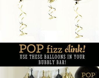 Pop Fizz Clink Balloons - New Years Balloons Bachelorette Party Balloons Wedding Bar Sign Ideas Decorations (EB3110PFC) - SET of 3 Balloons