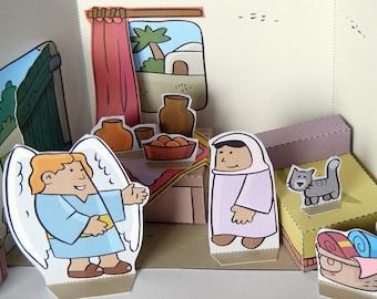 DIY Paper Christmas Dioramas, Christmas paper crafts, Nativity, Crèche de Noël, Crèche en papier