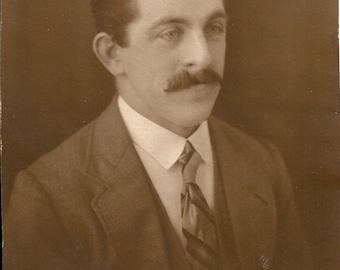 City gent, handsome man, antique photo, big moustache, Edwardian man, striped tie, studio portrait, dapper boyfriend, journal  (rppc/gl44)