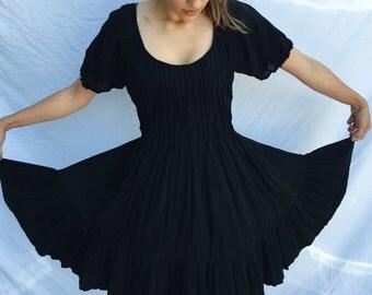 Black Medium Cotton Dress with Ruffles