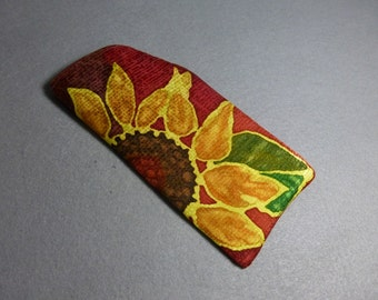 "Hand Painted Silk Glasses Case ""Yellow Sunflower"""
