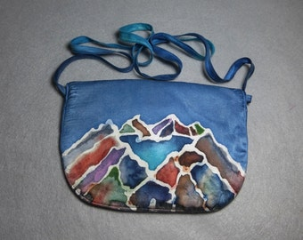 "Silk Shoulder Bag ""Sierra Panorama"", Hand Painted Silk Purse, Blue Silk Purse"