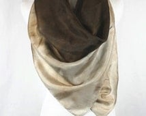 """Hand painted silk square scarf, 44""""x44 Chocolate brown/caramel ombre silk scarf/ halter top, OOAK and ready to ship, SSB1"""