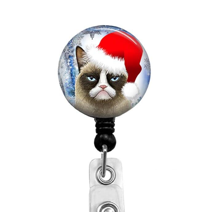 christmas grumpy cat badge reel nurse badge holder. Black Bedroom Furniture Sets. Home Design Ideas