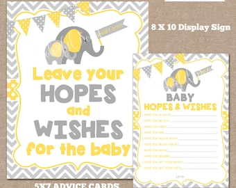 INSTANT DOWNLOAD-Hopes and Wishes For Baby Cards and sign, Wishes for Baby, Baby Shower Advice Cards, yellow, Grey, #0005