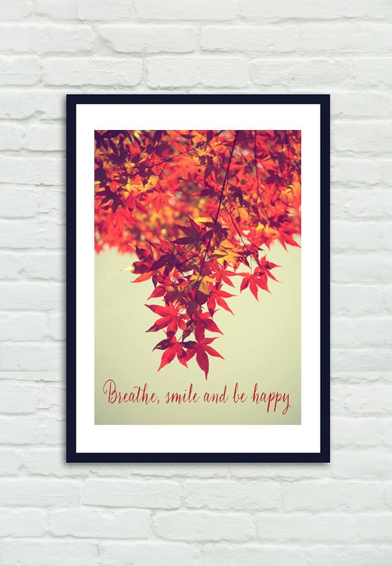 Wall Art Red Leaves : Tree branch art red maple leaf photography orange rusty