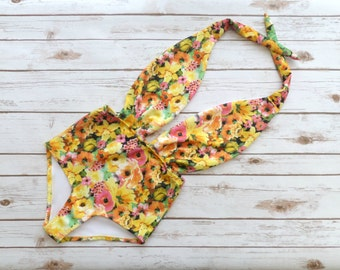 Swimsuit High Waisted Vintage Style  Plunge One Piece - Retro Pin-up Bathing Suit - Bold Yellow Floral Print Neoprene Maillot Swimwear