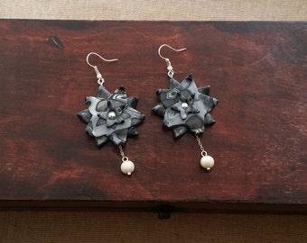 Large earrings handmade from polymer clay, geometric earrings, gray earrings, abstract jewelry, black & gray, modern earrings, gift idea