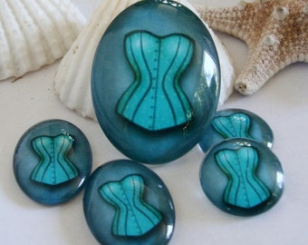 3 PCS French corset Cabochons, 2 18mm, Pendant 30 x 40mm,Glass Cabs...or 18 x 25 mm plus pendant size 30 x 40mm