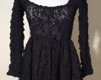 Vintage Early 1990s Collectible Anna Sui Black Lace Baby Doll Dress, Size Medium