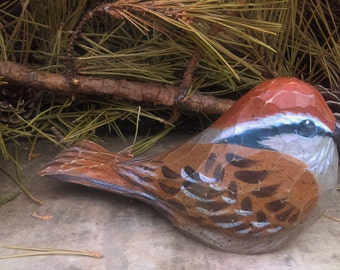 Hand Carved Windowsill Bird (Sparrow)