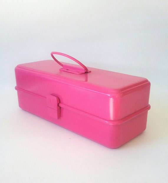 Pink Tool Box Makeup Case Storage Box by MakingMidCenturyMod