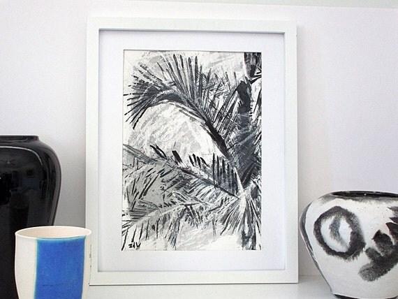 schwarz wei zeichnung palme moderne kunst original kunst. Black Bedroom Furniture Sets. Home Design Ideas