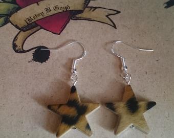 Rockabilly Leopard Animal Print Rock Star Earrings Handmade Jewellery Gift