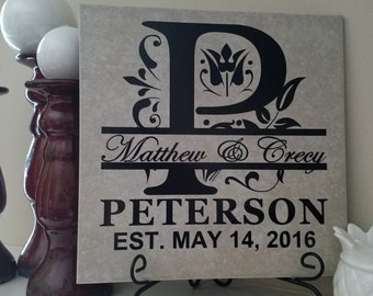 """Personalized Family Name Tile 12''x12"""""""