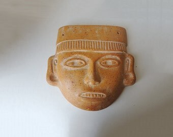 Moche Mask  Peruvian Terracotta   11.8 inch