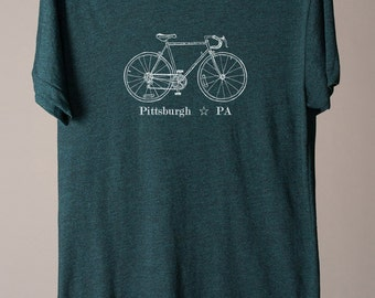 Pittsburgh bike tee, Pittsburgh t-shirt, Pittsburgh tee, Pittsburgh PA, Pennsylvania t-shirt